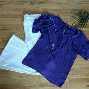 Tops - Express ™ | Purple Short Sleeve Blouse
